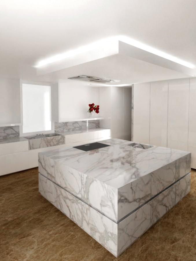 Cucina Marmo Calacatta e Emperador Light – CON.CA MARMI